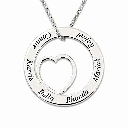 Herz Familienname Halskette Personalisiert mit 1 bis 8 Kindernamen für Mama - Kreis Namenskette Anhänger Graviert 8 Ringe für Damen Oma