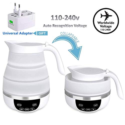 Foldable Travel Electric Kettle, Collapsible Electric Kettle, Dual Voltage Auto Shift ,Temper Control Portable Travel Kettle, Small Electric Kettle Food Grade Silicone, Boil Dry Protection