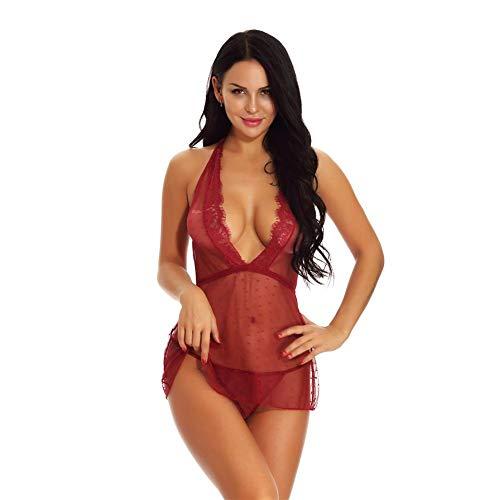 Farmer-W Sexy lingerie voor dames, nachtkleding set, zachte kant, comfortabel, open stijl, cadeau voor Valentijnsdag, avond, bruiloft, maan, honing elegantie