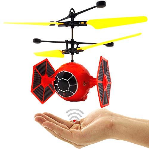 Space Warrier (Rot) Kinder Drohne Quadrocopter Hubschrauber Raumschiff RC UFO Helicopter Drohne mit Hellen LED Lichtern Einfach zu Steuern mit per Hand Sensorsteuerung Drohne für Kinder