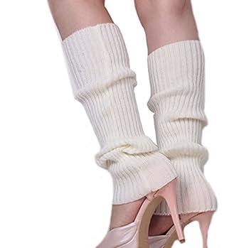 Ewanda store Women 80s Ribbed Leg Warmers Knitted Wool Crochet Long Boot Socks for Party Dance Sports Yoga Accessories,White