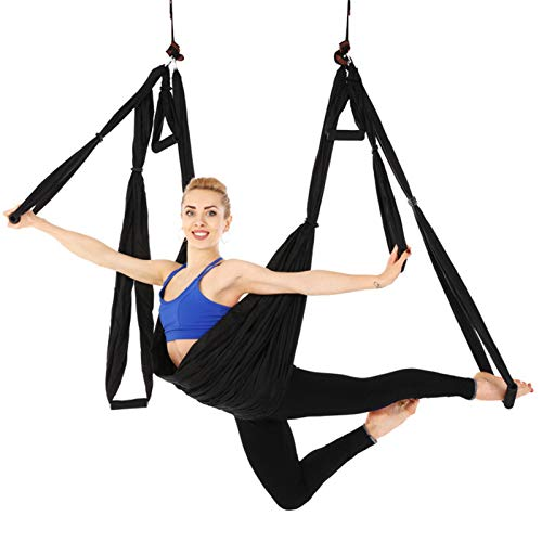 Juego de hamaca aérea para yoga y yoga, kit de yoga volador, mosquetón, gancho para gimnasio en casa, fitness al aire libre (250 x 150 cm), 11