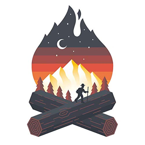 Campfire Sticker - Camping Hiking & Nature Artwork - Mountain Woods Moon Wilderness and National Park Waterproof Vinyl Decals for HydroFlask Water Bottle Laptop Car Bumper. Dishwasher Safe.