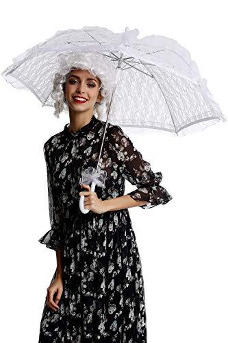 DRESS ME UP - YS-001W Parasol Spitze Sonnenschirm Barock Rokoko Viktorianisch Biedermeier weiß...