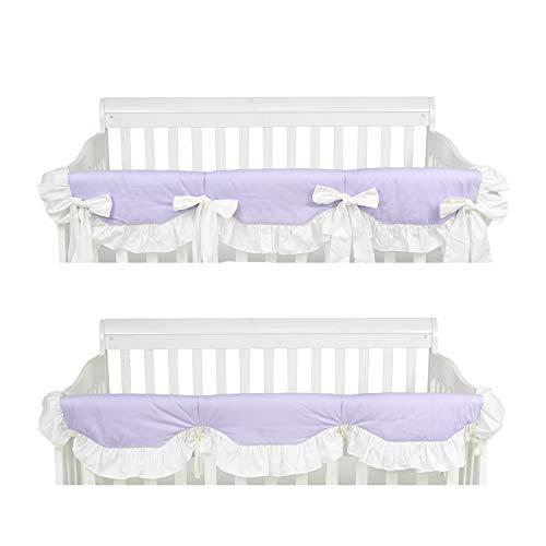 Brandream Purple Ruffle Crib Rail Cover for Girls Solid Long Front Crib Rail Guard Baby Teething Cover Protector Wrap for Princess Nursery Crib, 100% Cotton