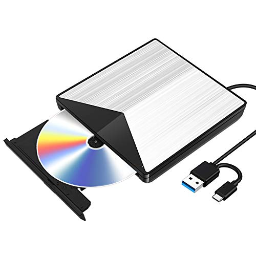 External Blu Ray CD DVD Drive 3D, USB 3.0 and Type USB C Bluray DVD CD RW Row Burner Player Compatible for MacBook OS Windows 7 8 10 PC