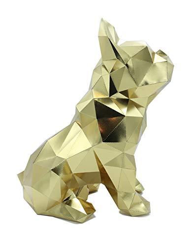 Oh Glam Home Kit DIY Bulldog Sentado Papercraft Kit Escultura Origami 3D Puzzle 3D PRECORTADO (Dorado, 30)