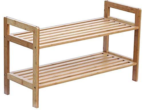 ZHU CHUANG 2-Tier kleine Bambus stapelbare Schuhregal für Eingang, Flur, Schlafzimmer und Schrank (Yellow)