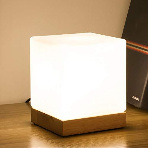 Chao Zan Madera Moderna Lámpara de Mesa E27 Led Cuarteto Lámpara Creativa Luz Led Noche Lactancia Vidrio Lámparas de Escritorio Cubo Mesilla de Noche de Luz Escritorio Dormitorio Salón de Estar