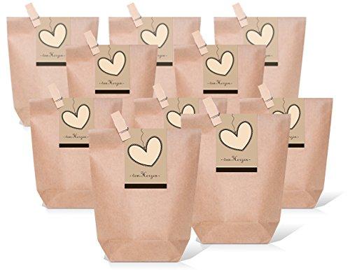 25 kleine braune Papiertüten mit Holzklammer + Herz-Aufkleber Banderole schwarz braun zum Verschließen VON HERZEN 14 x 22 x 5,6 cm Geschenktüte Hochzeit Gastgeschenk give-away Verpackung