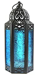 "Not just candlelight—these lanterns add color, pattern and an exotic global vibe to your patio or porch. Medium size lantern with large 6"" high glass panels with large door opening Uses tea-light, votive or small pillar candles up to 3"" x 3"". 4 3/8"" ..."