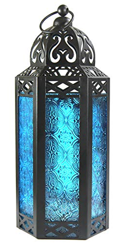 Vela Lanterns Moroccan Style Candle Lantern, Medium, Blue Glass