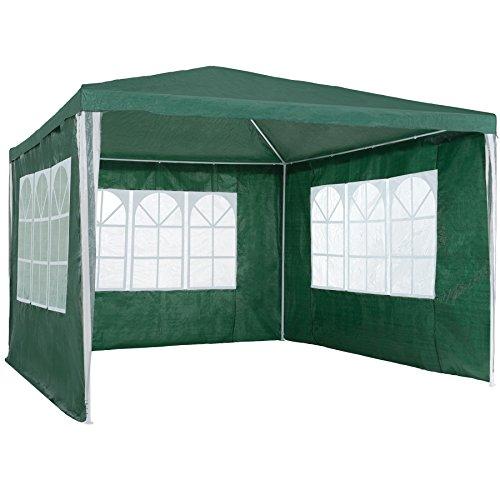 TecTake 800105 - Garten Pavillon 3x3 m inkl. 3 Seitenwänden, Minutenschnelle Montage, Platzsparende Lagerung - Diverse Farben (Grün | Nr. 401512)