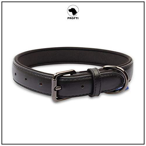 PROFTI Lederhalsband für Hunde, Leder mit Schaumstoff (S, Schwarz)