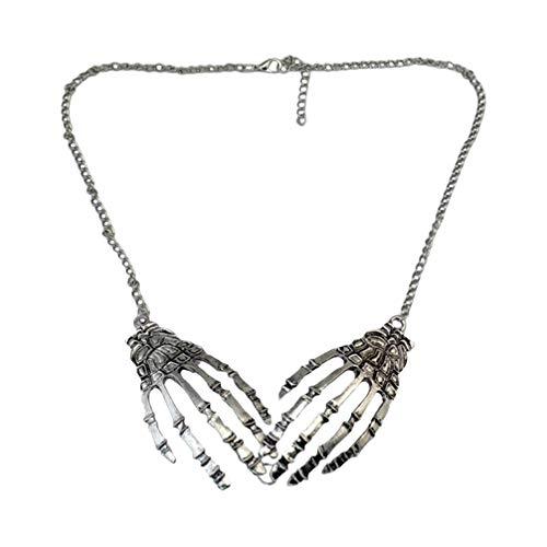 PRETYZOOM - Collar de aleacin con diseo de crneo para Halloween, estilo punk de mano de hueso, colgante gtico, decoracin para disfraz de cosplay (plata)