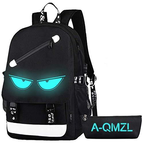 Bolsas escolares, anime luminosa mochila USB puerto de carga portátil, bolsa de lona para hombro, mochila para niñas, niños, adolescentes, mochila al aire libre
