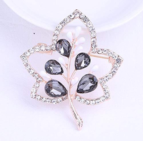 Nonebranded Geschenk Dekorative Pin Blattkristallglasbrosche