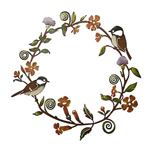 Arte De La Pared De Metal Adornos Pajaros Pared, Chickadeas Flower Wall Wall Art Porche Window Pájaro Decoración Colgante, Decoraciones30X30X1 Cm
