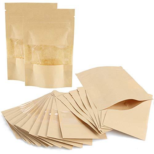 AILANDA 50 Bolsas de Papel Kraft Autoadhesivas Reutilizables con Cremallera con Ventana Transparente Bolsas de Almacenamiento de Alimentos para Alimentos Té Hierbas Semillas, 9 x 14 cm