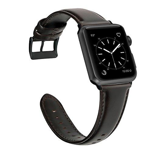 GOOYIN Pulseras compatibles con iWatch SE Series 6 5 4 3 2 1 Correa de piel refinada vintage de repuesto para reloj de pulsera de Apple Watch 44 mm 42 mm, color marrón