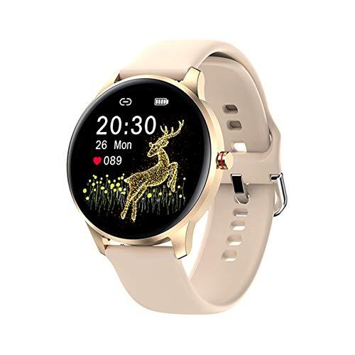 YNLRY Reloj inteligente para mujer, IP68, impermeable, pantalla táctil completa, monitor de frecuencia cardíaca, presión arterial, caja de aluminio para hombres (color silicona dorada)