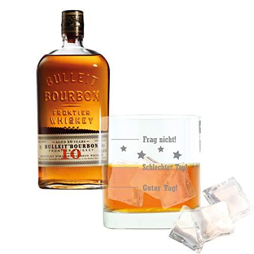 Whiskey 2er Set, Bulleit Bourbon Frontier Whiskey Aged 10 Years /Jahre, Whisky, Alkohol, Alkoholgetränk, Flasche, 45.6%, 700 ml, 729937, Geschenk zum Vatertag, mit graviertem Glas