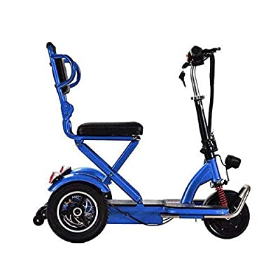 XCBY Adult Electric Mobility 3 Wheeled Scooter Mini Convenient Designed for Seniors Foldable Maximum Speed ??20km / h Power 350W Travel Pavement Fits in Most Car Boots Blue-25KM