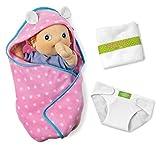 Rubens Barn Changing Kit Baby Accessoires / 1x rosa Decke mit weißen Punkten, 1x Windel + 1x Handtuch (Lieferung ohne Puppe!)