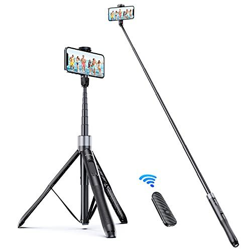 ATUMTEK Palo Selfie Trípode 1.5M Trípode para Móvil con Bluetooth, con Aluminio Resistente y Trípode de Patas Antideslizantes para iPhone/Android, Grabación de Videos, Vlogs, Directos - Negro
