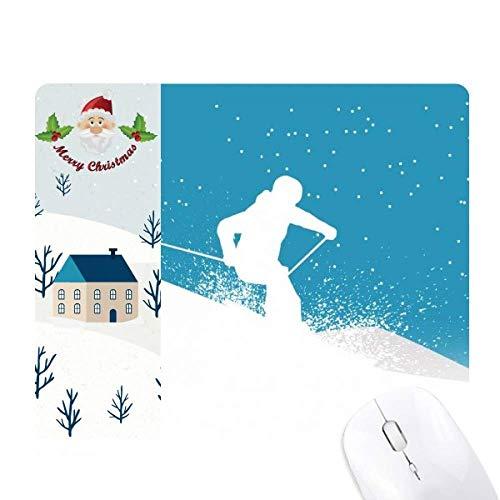 Alfombrilla de ratón para esquiar con esquís para esquiar con bastón de...