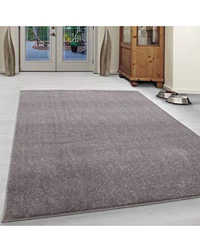 Wohnzimmer Teppich Kurzflor Modern Einfarbig Meliert Uni günstig Versch. Farben Oeko Tex Zertifiert - Beige, 120x120 cm Rund