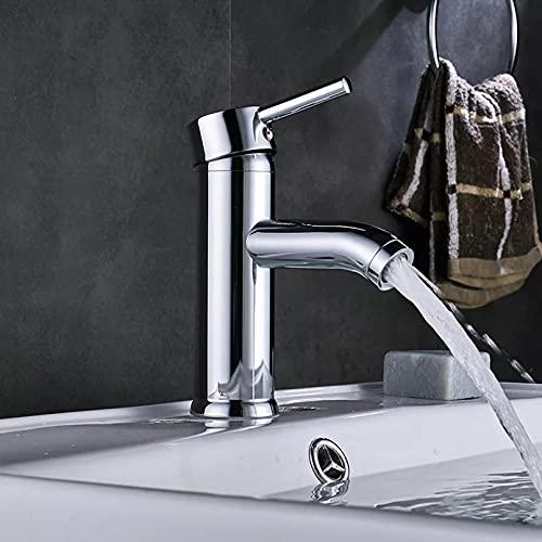 Grifo del lavabo del baño grifo de instalación de encimera de una manija grifo mezclador de agua fría y caliente