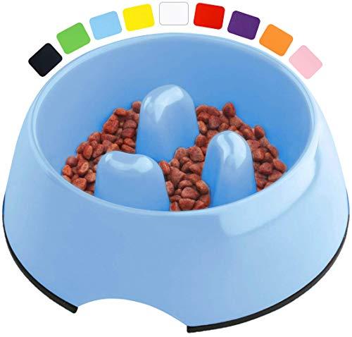 DDOXX Fressnapf Antischlingnapf, rutschfest | viele Farben & Größen | für kleine & große Hunde | Futter-Napf Katze | Hunde-Napf Hund | Katzen-Napf | Melamin-Napf | Blau, 600 ml