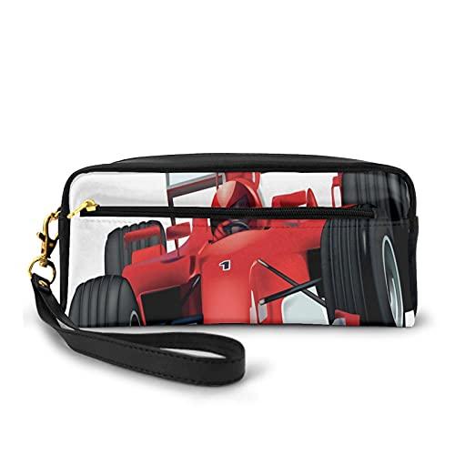 Con bolsa de lápiz de cremallera,Formula Race Car The Driver Automobile Motorized Sports Theme Strong Engine,Estuche pequeño maquillaje bolsa