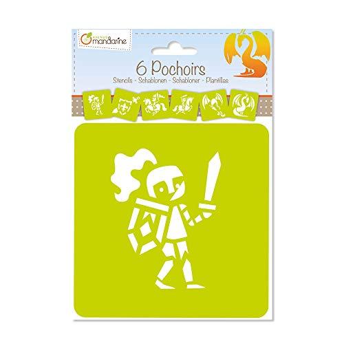 Avenue Mandarine 42838O Set (mit 6 Schablonen, 15 x 15 cm, geeignet für Kinder ab 3 Jahre, für Filz- und Farbstifte, Farben oder Farbbomben, Ritter) 6er Pack