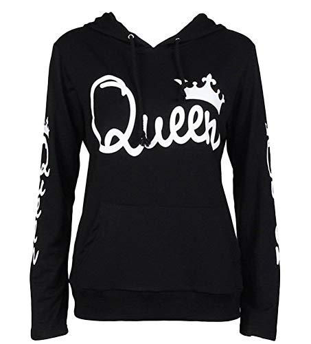 Tomwell Hombre Y Mujer Moda King Queen Impresión Sudaderas con Capucha Manga Larga Pullover Camisas Jersey Hoodies Parejas Tops F Queen Negro EU L