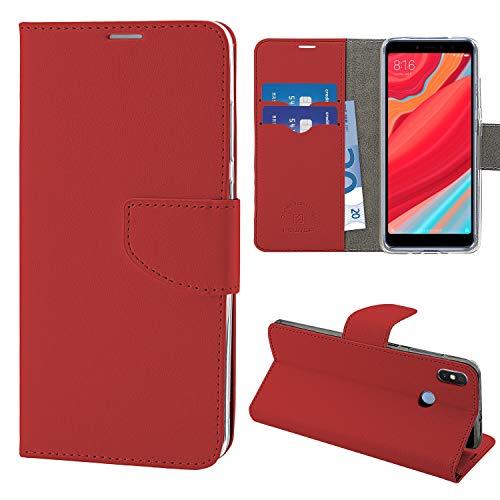 N NEWTOP Cover Compatibile per Xiaomi Redmi S2, HQ Lateral Custodia Libro Flip Chiusura Magnetica Portafoglio Simil Pelle Stand (Rossa)