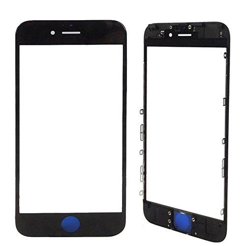 MMOBIEL Front Glas mit Rahmen kompatibel mit iPhone 6S (Schwarz) inkl. Hörmuschel Abdeckung (Earpiece Mesh) Ersatz