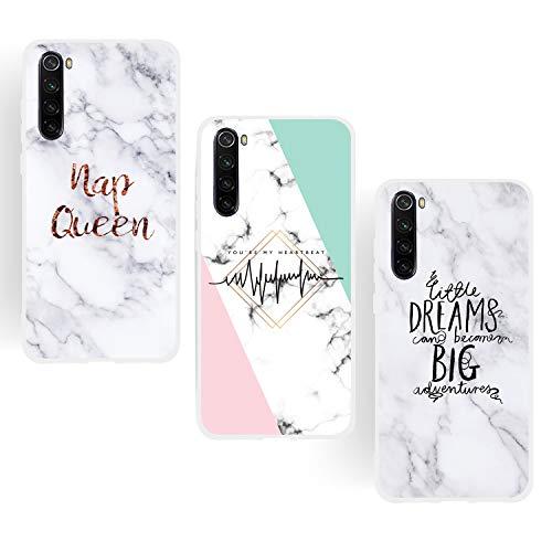 ChoosEU Compatible con 3X Fundas Xiaomi Redmi Note 8T Silicona Dibujos Mármol Creativa Carcasas para Chicas Mujer Hombres TPU Case Antigolpes Bumper Cover Caso Protección - Reina, Sueño, Color