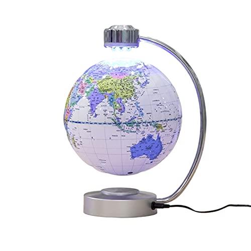 Whinop Levitación Magnética Globo Flotante, Anti Gravedad Mapa del Mundo Mapa De Suspensión Globo con Iluminación para El Hogar Oficina Decoración De Adornos Regalos (Color : White)