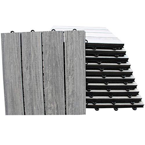 Top-Multi WPC Holz Fliese profiliert 30x30cm GRAU 2 m²
