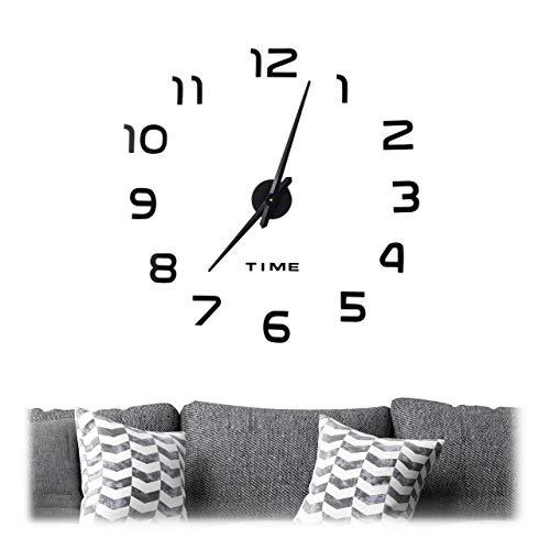 Relaxdays DIY Wanduhr, 3D-Zahlen, Uhr Wandtattoo zum Aufkleben, einfache Installation, Größe variabel, modern, schwarz