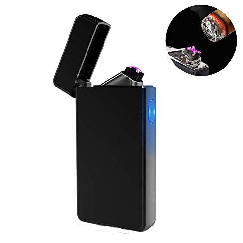 NuoYo USB Elektronisch Feuerzeug NuoYo Feuerzeug Lichtbogen Tragbar Wiederaufladbar Zigarettenanzünder mit USB Kabel Elegante Geschenkverpackung Sicher und Winddicht Ohne Gas Schwarz