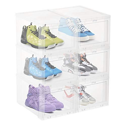 Caja de zapatos transparente apilable con tapa, organizador de zapatos para hombre y mujer, 36 x 29 x 19 cm, color blanco