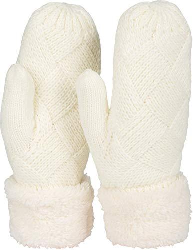styleBREAKER Damen warme Winter Strick Fäustlinge, Handschuhe mit Rauten Muster, Thermo Fleece, Strickhandschuhe 09010031, Farbe:Creme-Weiß