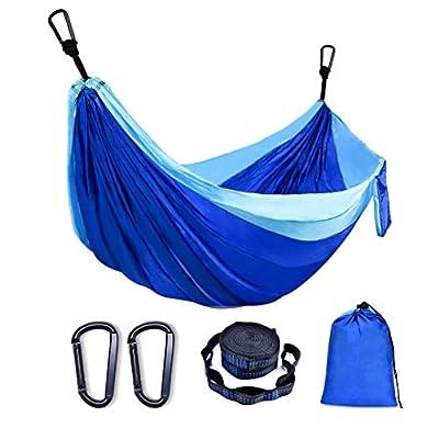 JMOKA Camping Hammock Double,660 lb Load Heavy Duty Portable Hammock Nylon Parachute Hammock for Indoor Outdoor Backpacking, Camping, Travelling, Beach, Backyard ?Portable(2 Tree Straps)Blue