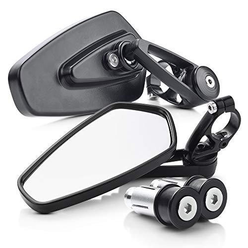 MICTUNING Rectángulo Espejo Retrovisor Lateral de Motocicleta, 7,8pulgadas Ajustables Vista Lateral Mango Barra,180 Degrees Rotated (Pack de 2)