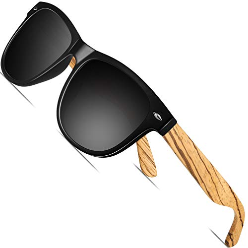 FEIDU Holz Sonnenbrille Herren Damen - UV-Schutz Große Retro Polarized Sonnenbrille für Herren und Damen 9010 (1Helles Schwarz, 14.5)