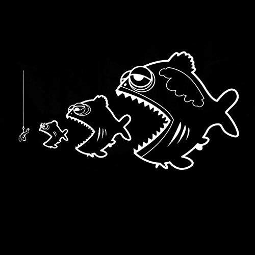 RJGOPL Autoaufkleber 18.7 * 10.1CM Fish Survival Classic Cartoon Tier Auto Aufkleber Lustiges Auto Styling Dekorative Aufkleber Schwarz/Silber C6-0660Prata
