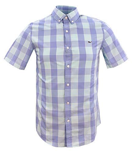 Vineyard Vines Men's Slim Fit Short-Sleeved Button Down Shirt (XX-Large, Hideaway Check/Dockside Blue)